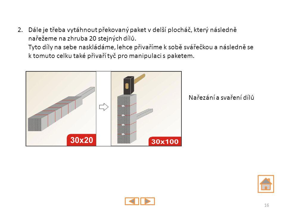 2.Dále je třeba vytáhnout překovaný paket v delší plocháč, který následně nařežeme na zhruba 20 stejných dílů. Tyto díly na sebe naskládáme, lehce při