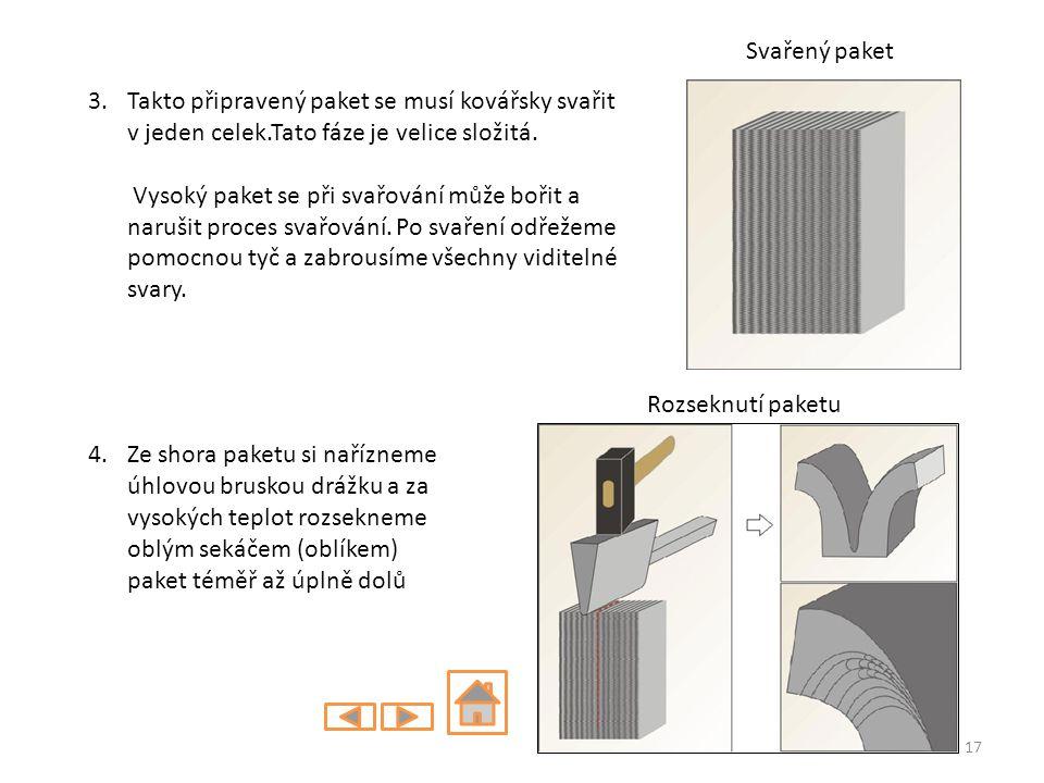 3.Takto připravený paket se musí kovářsky svařit v jeden celek.Tato fáze je velice složitá. Vysoký paket se při svařování může bořit a narušit proces