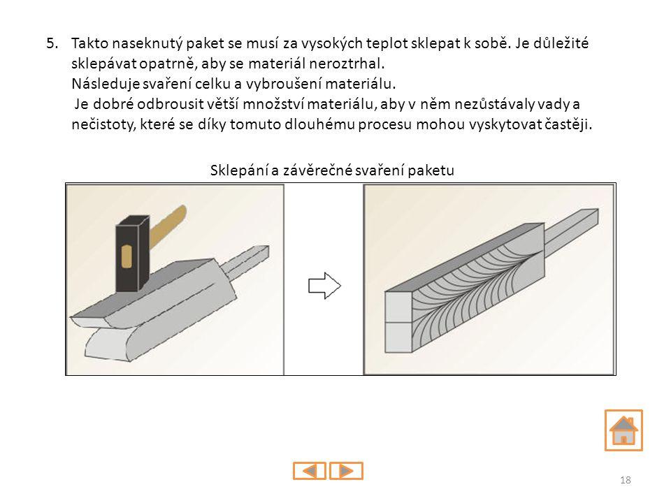 5.Takto naseknutý paket se musí za vysokých teplot sklepat k sobě. Je důležité sklepávat opatrně, aby se materiál neroztrhal. Následuje svaření celku