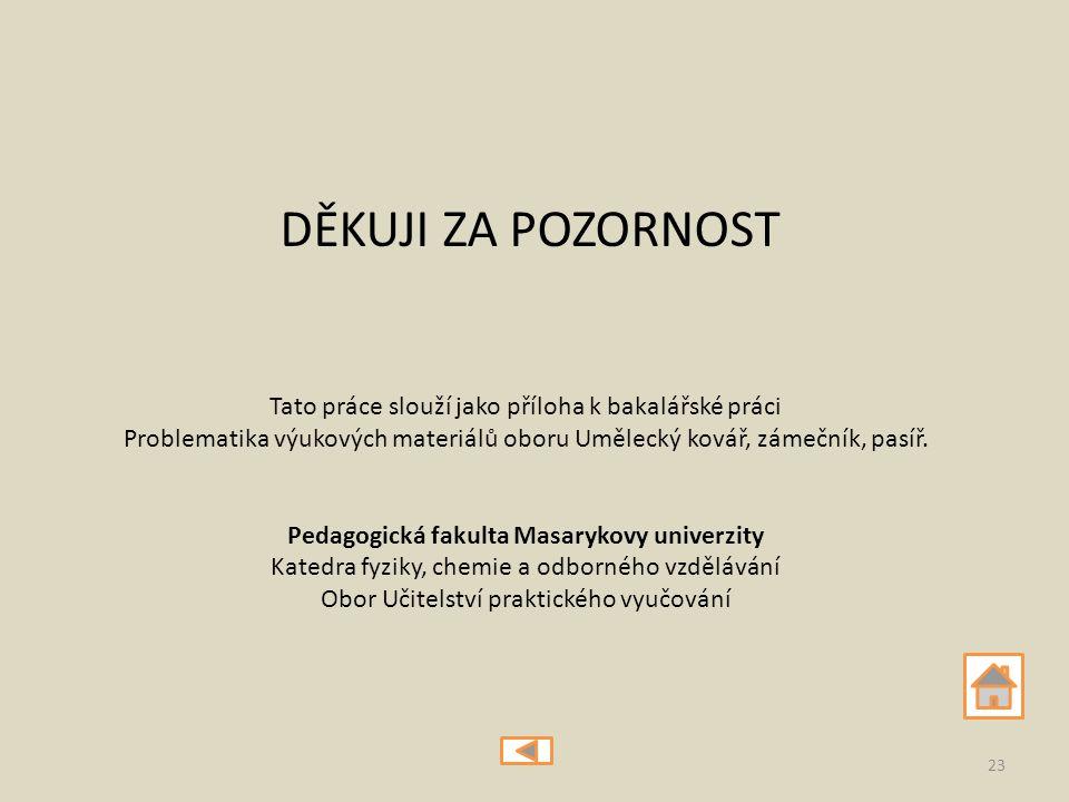 DĚKUJI ZA POZORNOST 23 Tato práce slouží jako příloha k bakalářské práci Problematika výukových materiálů oboru Umělecký kovář, zámečník, pasíř. Pedag