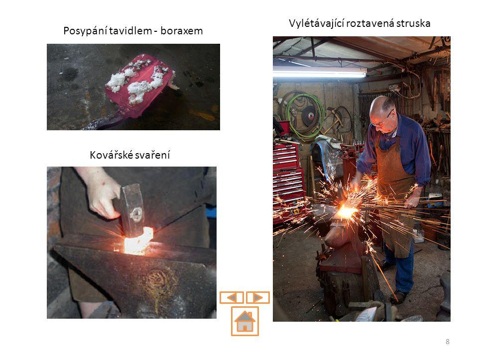 Posypání tavidlem - boraxem Kovářské svaření Vylétávající roztavená struska 8