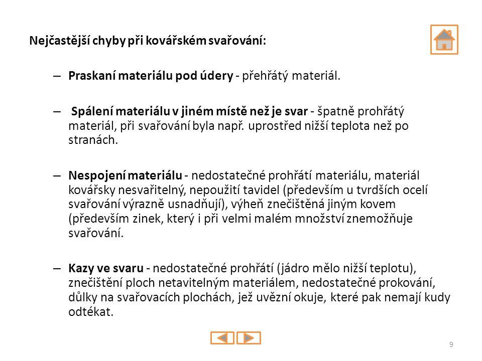 Nejčastější chyby při kovářském svařování: – Praskaní materiálu pod údery - přehřátý materiál. – Spálení materiálu v jiném místě než je svar - špatně