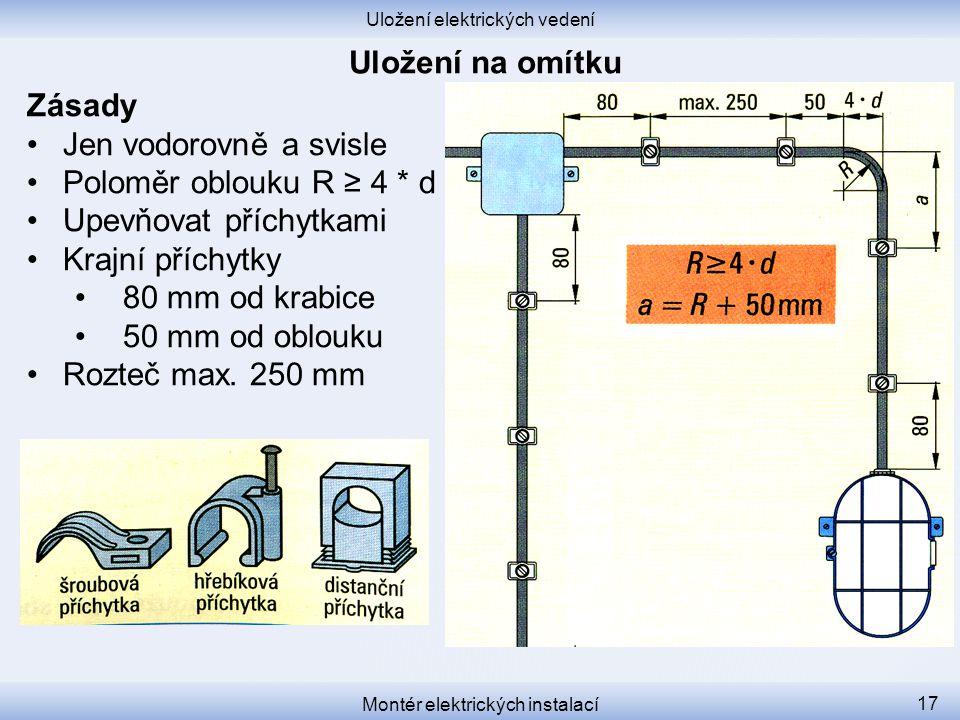 Uložení elektrických vedení Montér elektrických instalací 17 Zásady Jen vodorovně a svisle Poloměr oblouku R ≥ 4 * d Upevňovat příchytkami Krajní příc