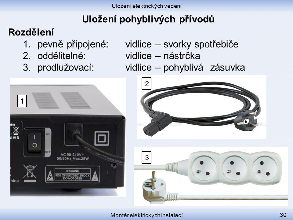 Uložení elektrických vedení Montér elektrických instalací 30 Rozdělení 1.pevně připojené: vidlice – svorky spotřebiče 2.oddělitelné:vidlice – nástrčka