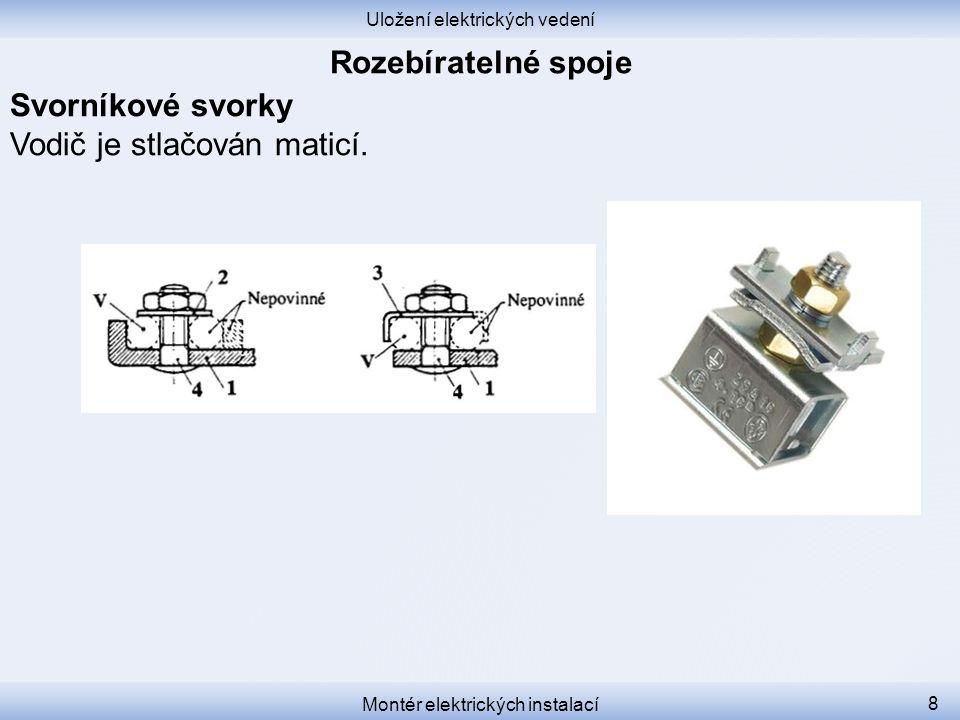 Uložení elektrických vedení Montér elektrických instalací 9 Plášťové svorky Vodič uvnitř proříznutého svorníku velkého průměru je stlačován vnější maticí.