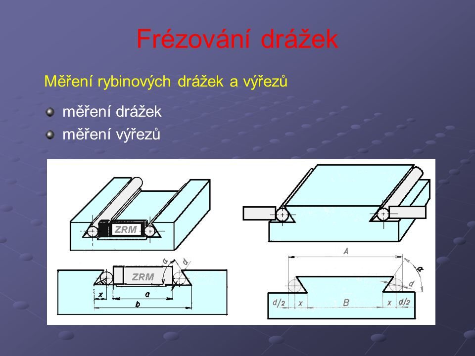 Frézování drážek Měření rybinových drážek a výřezů měření drážek měření výřezů