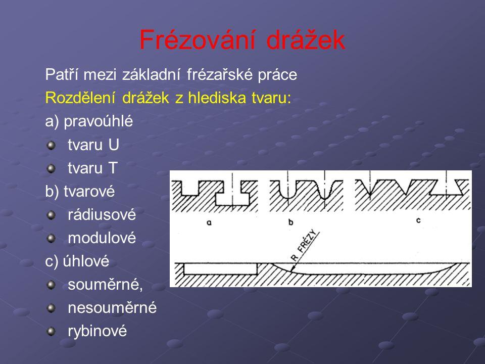 Patří mezi základní frézařské práce Rozdělení drážek z hlediska tvaru: a) pravoúhlé tvaru U tvaru T b) tvarové rádiusové modulové c) úhlové souměrné,