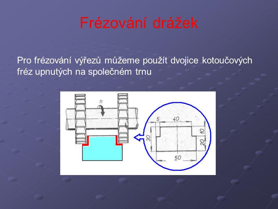 Frézování drážek Pro frézování výřezů můžeme použít dvojice kotoučových fréz upnutých na společném trnu