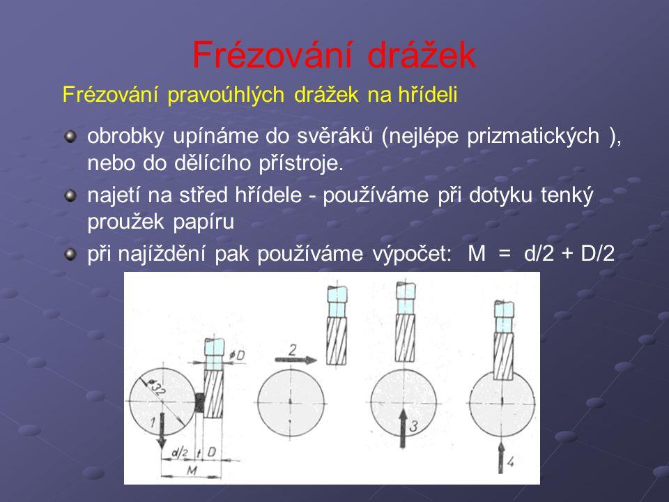Frézování drážek Frézování pravoúhlých drážek na hřídeli obrobky upínáme do svěráků (nejlépe prizmatických ), nebo do dělícího přístroje. najetí na st