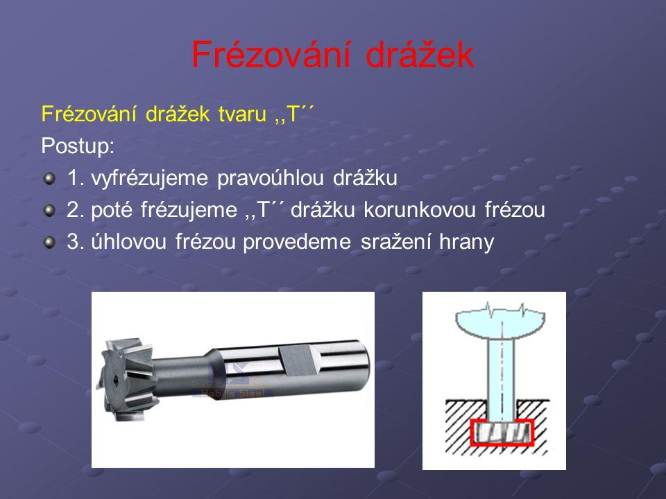 Frézování drážek Frézování drážek tvaru,,T´´ Postup: 1. vyfrézujeme pravoúhlou drážku 2. poté frézujeme,,T´´ drážku korunkovou frézou 3. úhlovou frézo