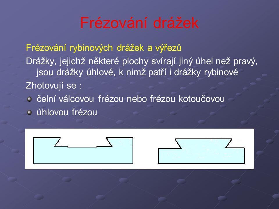Frézování drážek Frézování rybinových drážek a výřezů Drážky, jejichž některé plochy svírají jiný úhel než pravý, jsou drážky úhlové, k nimž patří i d