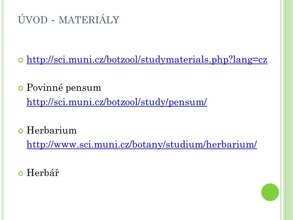 ÚVOD - MATERIÁLY http://sci.muni.cz/botzool/studymaterials.php?lang=cz Povinné pensum http://sci.muni.cz/botzool/study/pensum/ Herbarium http://www.sc