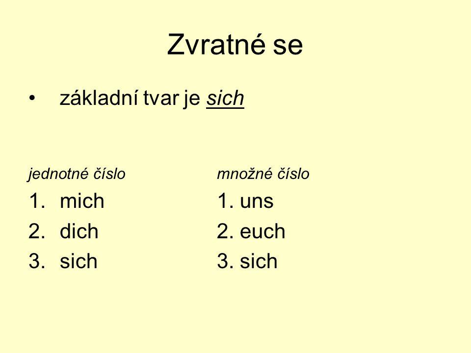 Zvratné se základní tvar je sich jednotné číslomnožné číslo 1.mich1.