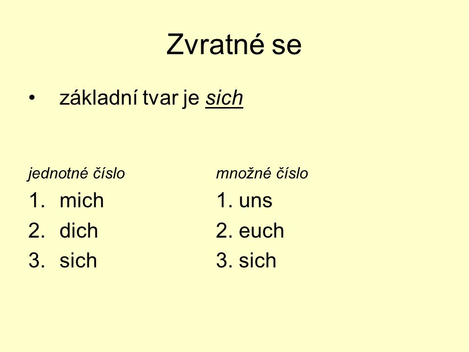 Zvratné se základní tvar je sich jednotné číslomnožné číslo 1.mich1. uns 2.dich2. euch 3.sich3. sich