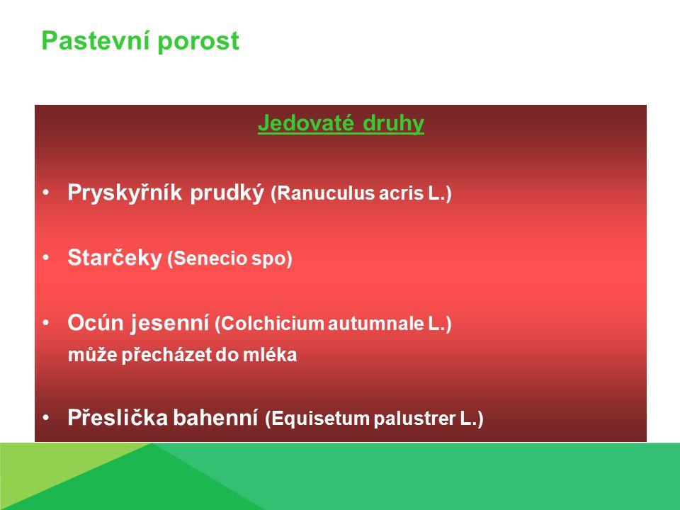Pastevní porost Jedovaté druhy Pryskyřník prudký (Ranuculus acris L.) Starčeky (Senecio spo) Ocún jesenní (Colchicium autumnale L.) může přecházet do mléka Přeslička bahenní (Equisetum palustrer L.)