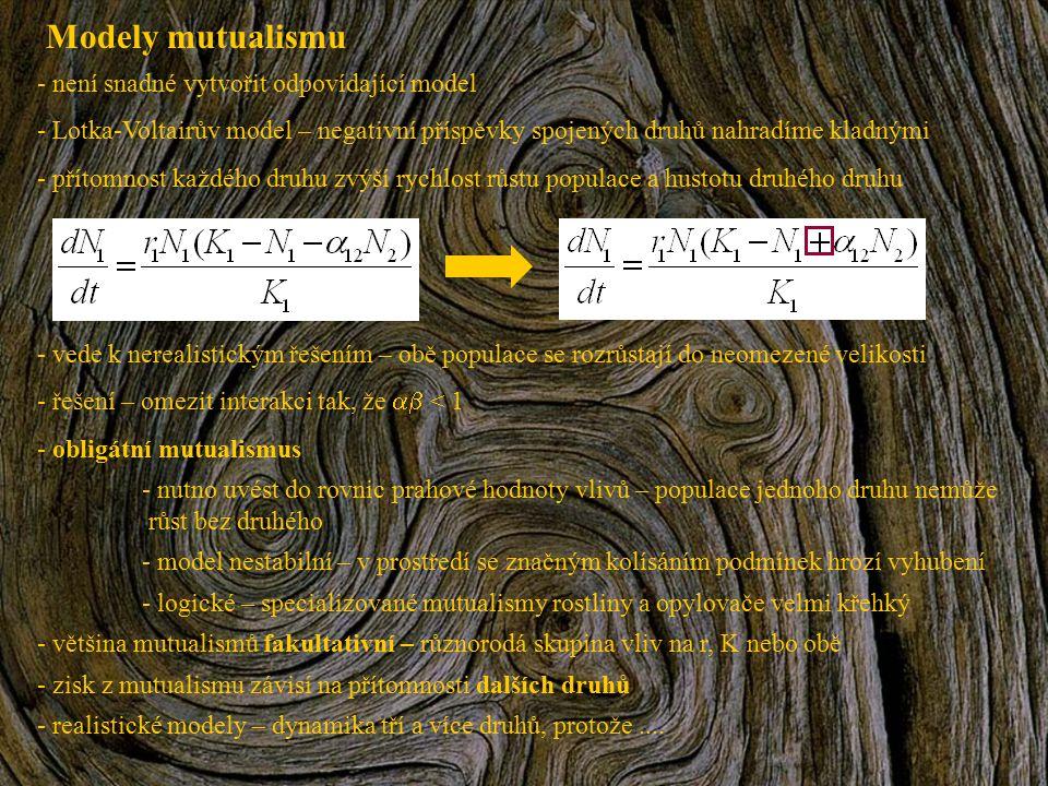 Modely mutualismu - není snadné vytvořit odpovídající model - Lotka-Voltairův model – negativní příspěvky spojených druhů nahradíme kladnými - přítomn