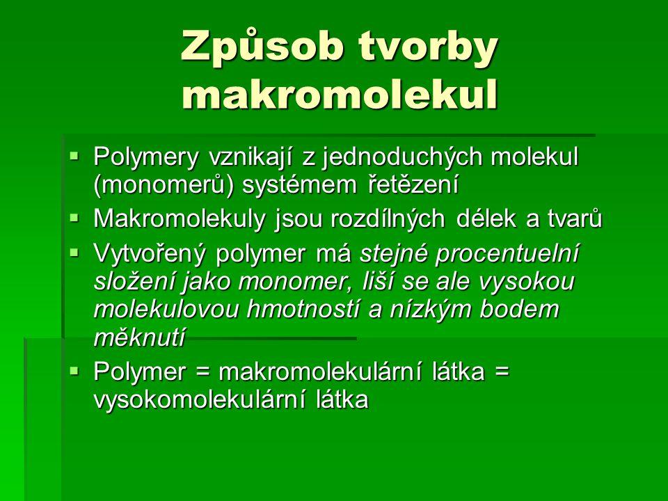 Způsob tvorby makromolekul  Polymery vznikají z jednoduchých molekul (monomerů) systémem řetězení  Makromolekuly jsou rozdílných délek a tvarů  Vytvořený polymer má stejné procentuelní složení jako monomer, liší se ale vysokou molekulovou hmotností a nízkým bodem měknutí  Polymer = makromolekulární látka = vysokomolekulární látka