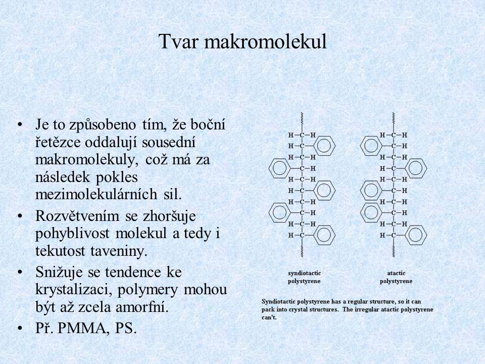 Tvar makromolekul Je to způsobeno tím, že boční řetězce oddalují sousední makromolekuly, což má za následek pokles mezimolekulárních sil. Rozvětvením