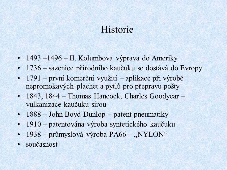 Historie 1493 –1496 – II. Kolumbova výprava do Ameriky 1736 – sazenice přírodního kaučuku se dostává do Evropy 1791 – první komerční využití – aplikac