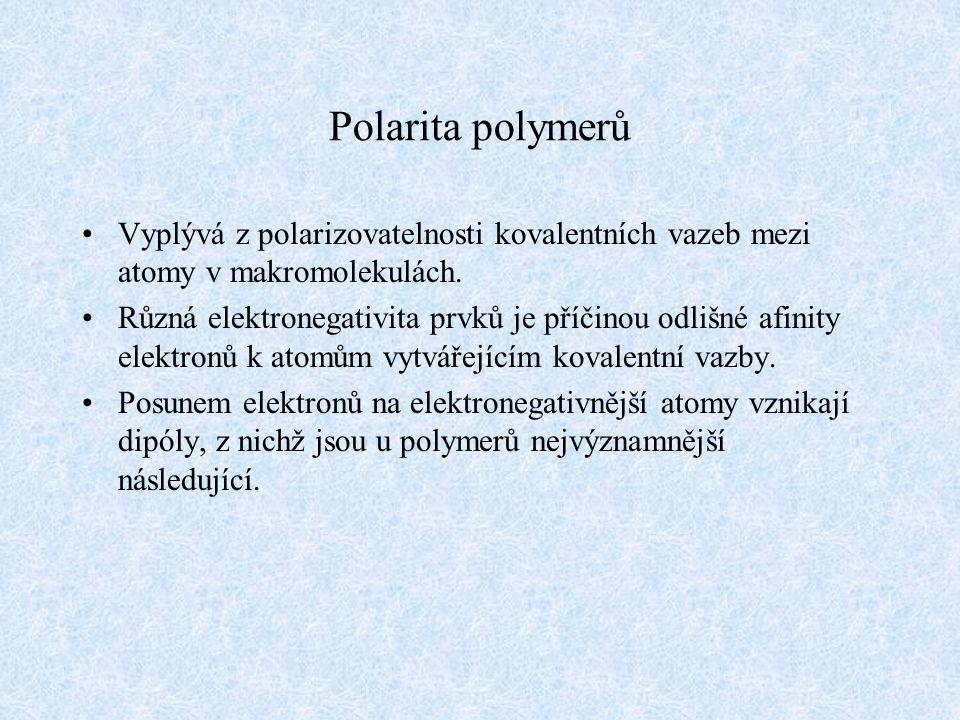 Polarita polymerů Vyplývá z polarizovatelnosti kovalentních vazeb mezi atomy v makromolekulách. Různá elektronegativita prvků je příčinou odlišné afin