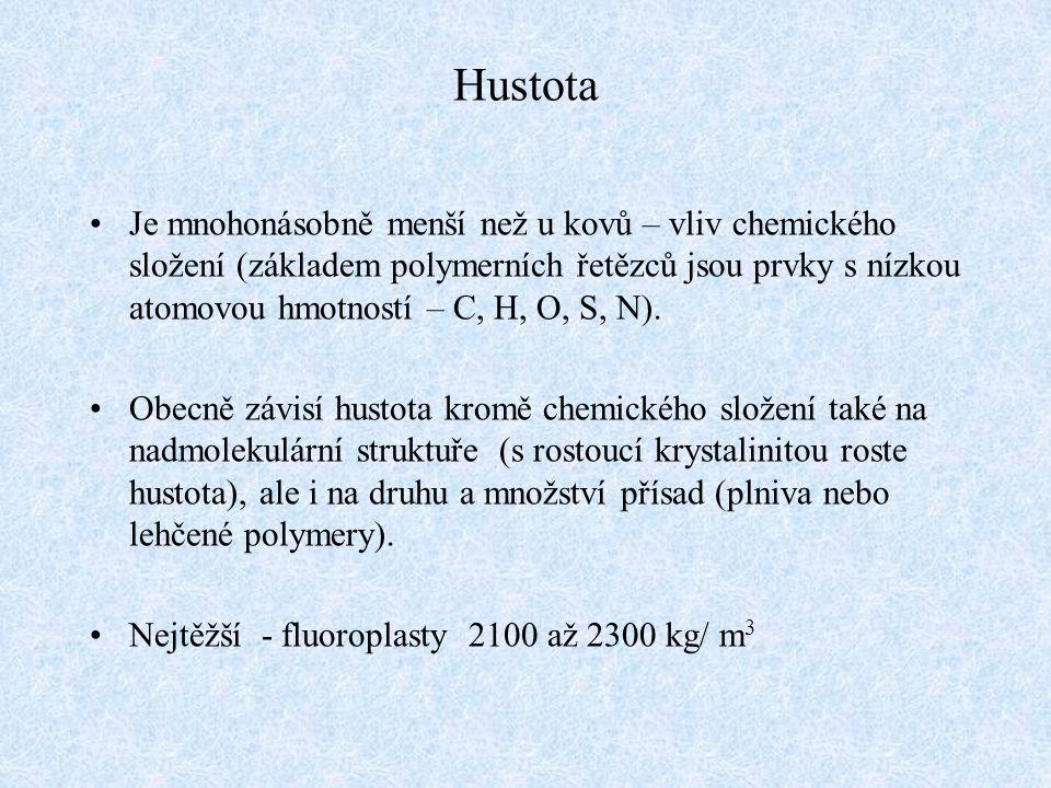 Hustota Je mnohonásobně menší než u kovů – vliv chemického složení (základem polymerních řetězců jsou prvky s nízkou atomovou hmotností – C, H, O, S,