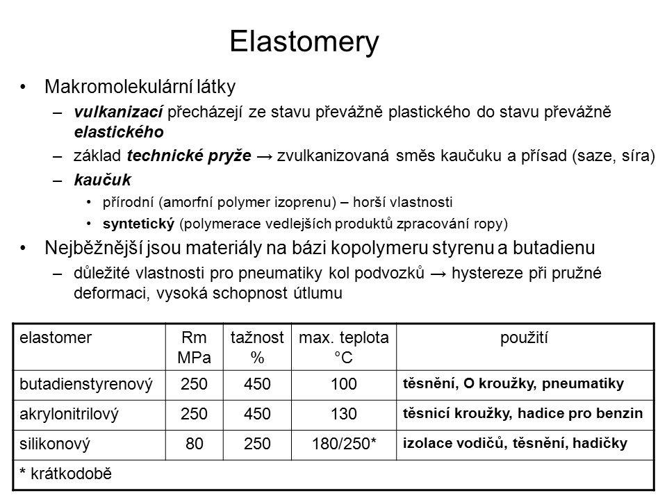 Elastomery Makromolekulární látky –vulkanizací přecházejí ze stavu převážně plastického do stavu převážně elastického –základ technické pryže → zvulka
