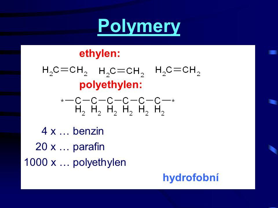 Hydrofilní polymery hydrofobní ethan: hydrofilní ethanol: Polyvinylalkohol: …vodorozpustný….tudy cesta nevede
