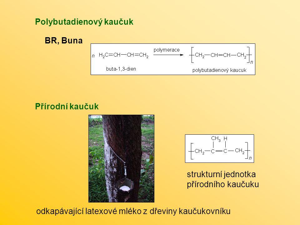 Polybutadienový kaučuk BR, Buna Přírodní kaučuk odkapávající latexové mléko z dřeviny kaučukovníku strukturní jednotka přírodního kaučuku