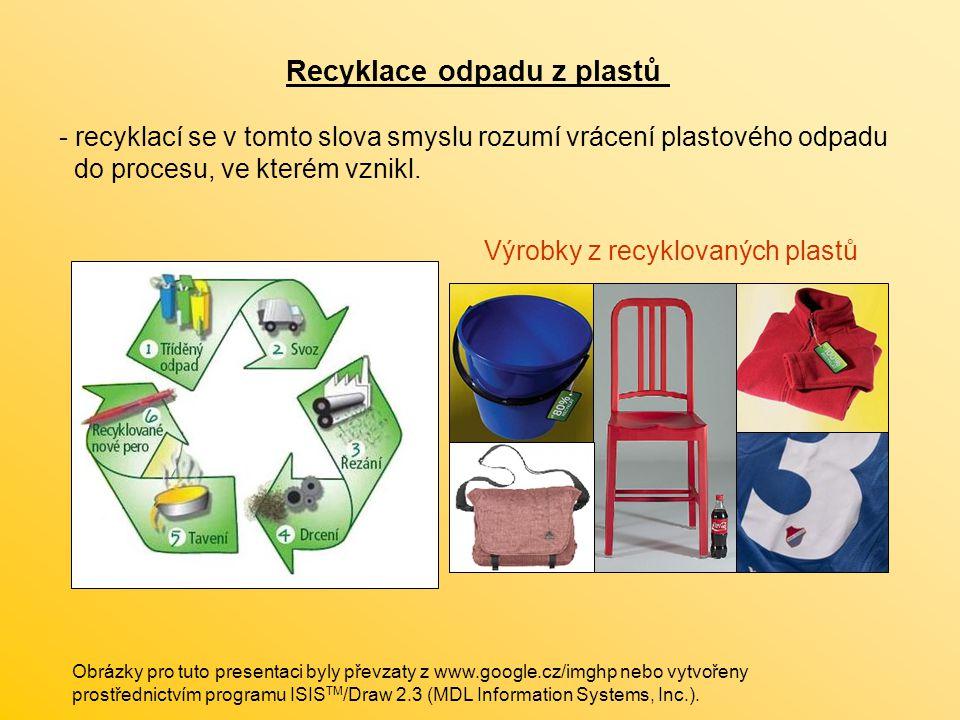 Recyklace odpadu z plastů - recyklací se v tomto slova smyslu rozumí vrácení plastového odpadu do procesu, ve kterém vznikl. Výrobky z recyklovaných p