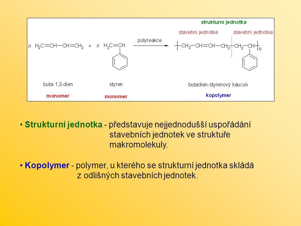 Strukturní jednotka - představuje nejjednodušší uspořádání stavebních jednotek ve struktuře makromolekuly. Kopolymer - polymer, u kterého se strukturn