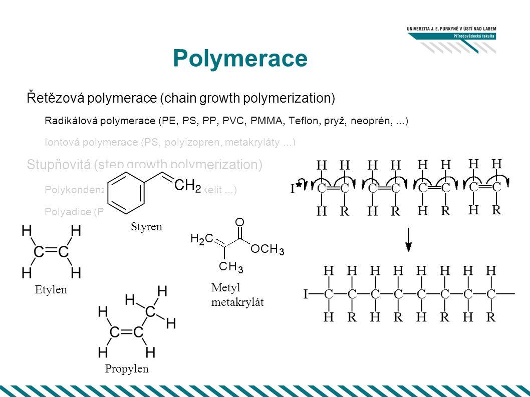 Polymerace Řetězová polymerace (chain growth polymerization) Radikálová polymerace (PE, PS, PP, PVC, PMMA, Teflon, pryž, neoprén,...) Iontová polymerace (PS, polyizopren, metakryláty...) Stupňovitá (step growth polymerization) Polykondenzace (PET, Nylon, Bakelit...) Polyadice (Polyurethans,...) Etylen Propylen Metyl metakrylát Styren