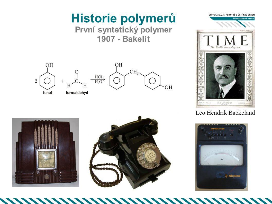 Historie polymerů První syntetický polymer 1907 - Bakelit Leo Hendrik Baekeland