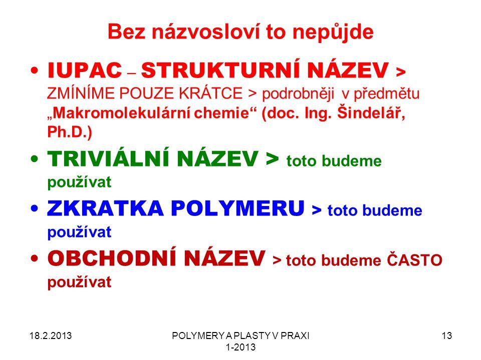 """POLYMERY A PLASTY V PRAXI 1-2013 13 Bez názvosloví to nepůjde 18.2.2013 IUPAC – STRUKTURNÍ NÁZEV > ZMÍNÍME POUZE KRÁTCE > podrobněji v předmětu """"Makro"""