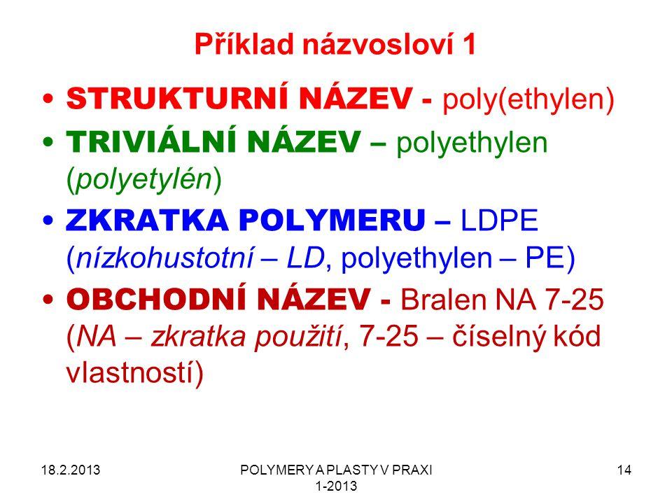 POLYMERY A PLASTY V PRAXI 1-2013 14 Příklad názvosloví 1 18.2.2013 STRUKTURNÍ NÁZEV - poly(ethylen) TRIVIÁLNÍ NÁZEV – polyethylen (polyetylén) ZKRATKA