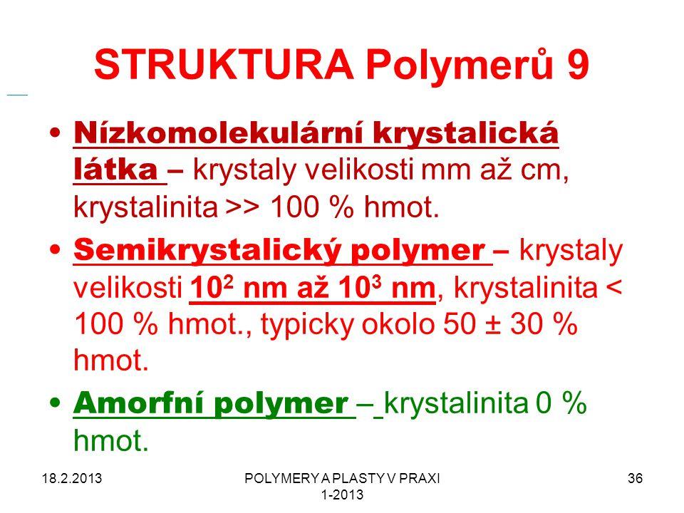 STRUKTURA Polymerů 9 Nízkomolekulární krystalická látka – krystaly velikosti mm až cm, krystalinita >> 100 % hmot. Semikrystalický polymer – krystaly