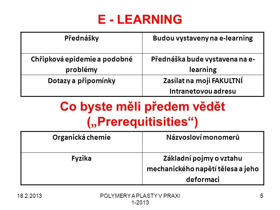 POLYMERY A PLASTY V PRAXI 1-2013 5 E - LEARNING PřednáškyBudou vystaveny na e-learning Chřipková epidemie a podobné problémy Přednáška bude vystavena
