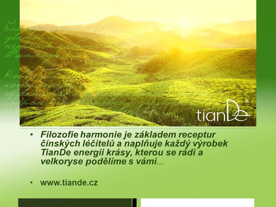 Filozofie harmonie je základem receptur čínských léčitelů a naplňuje každý výrobek TianDe energii krásy, kterou se rádi a velkoryse podělíme s vámi...