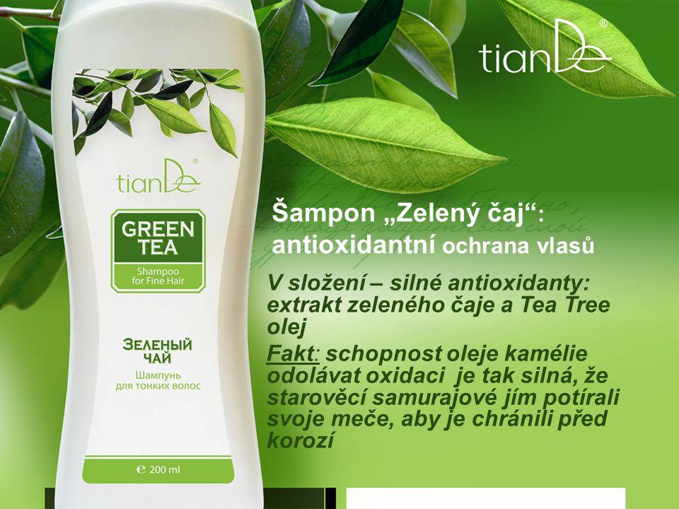 """Šampon """"Zelený čaj : antioxidantní ochrana vlasů V složení – silné antioxidanty: extrakt zeleného čaje a Tea Tree olej Fakt: schopnost oleje kamélie odolávat oxidaci je tak silná, že starověcí samurajové jím potírali svoje meče, aby je chránili před korozí"""