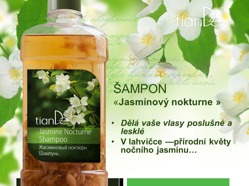ŠAMPON «Jasmínový nokturne » Dělá vaše vlasy poslušné a lesklé V lahvičce —přírodní květy nočního jasmínu…