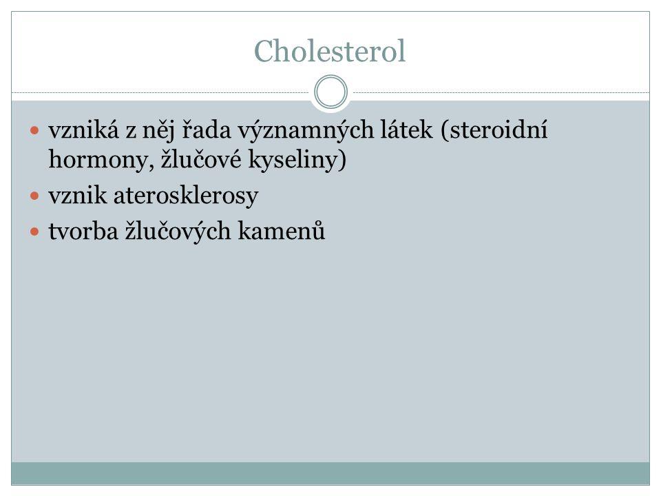 Cholesterol vzniká z něj řada významných látek (steroidní hormony, žlučové kyseliny) vznik aterosklerosy tvorba žlučových kamenů