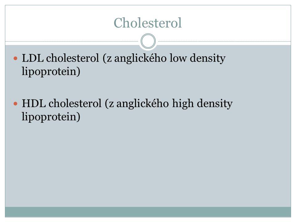 Cholesterol LDL cholesterol (z anglického low density lipoprotein) HDL cholesterol (z anglického high density lipoprotein)