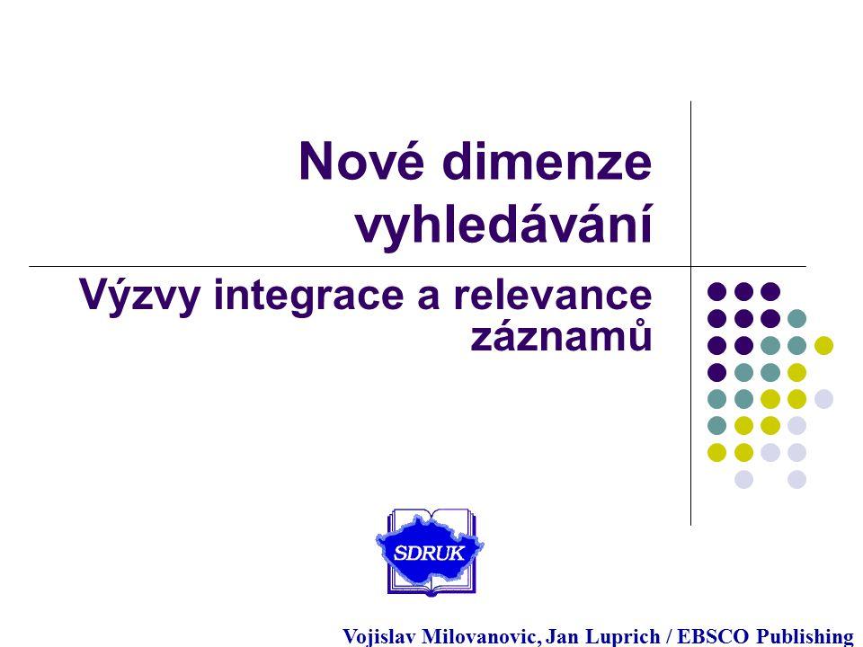 support.ebsco.com Nové dimenze vyhledávání Výzvy integrace a relevance záznamů Vojislav Milovanovic, Jan Luprich / EBSCO Publishing