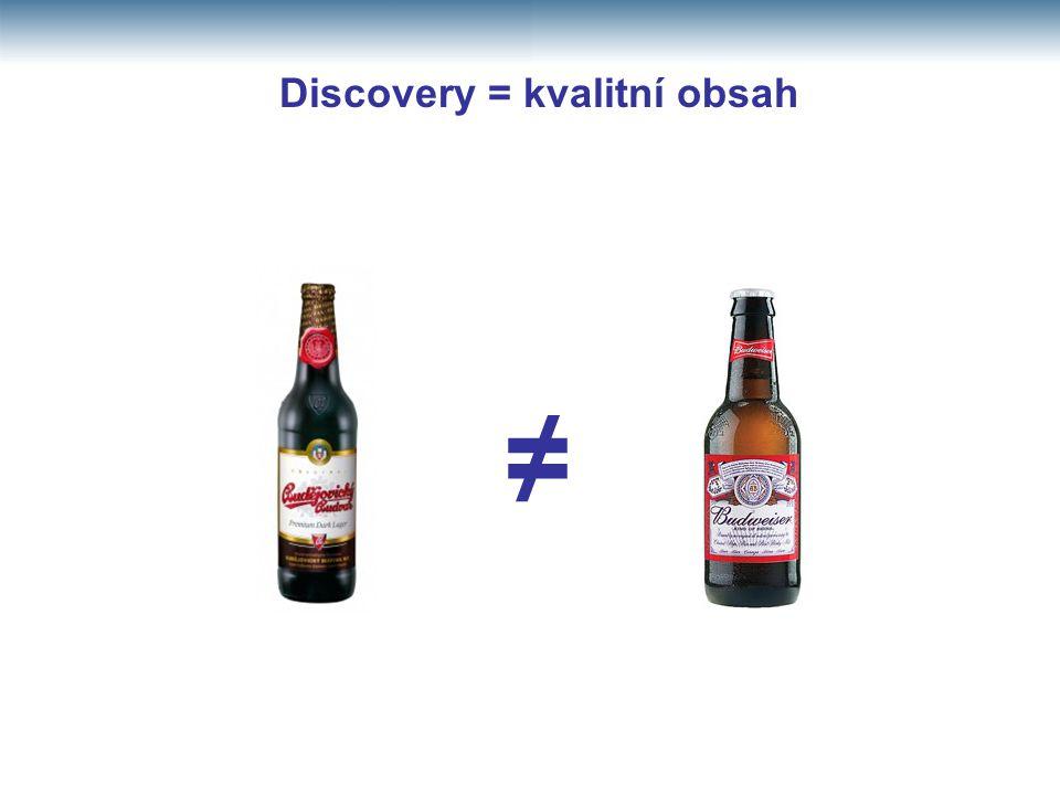 ≠ Discovery = kvalitní obsah