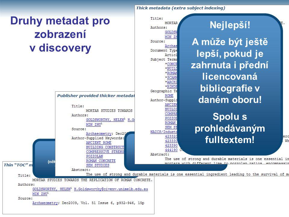 Druhy metadat pro zobrazení v discovery Lepší než nic (některé produkty discovery spoléhají na vyhledávání pouze na této úrovni) Velmi dobré (nabízí více polí k prohledávání článků vydavatelů) Nejlepší.