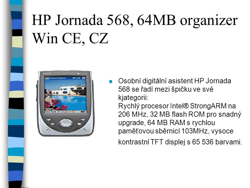 HP Jornada 568, 64MB organizer Win CE, CZ n Osobní digitální asistent HP Jornada 568 se řadí mezi špičku ve své kjategorii: Rychlý procesor Intel® StrongARM na 206 MHz, 32 MB flash ROM pro snadný upgrade, 64 MB RAM s rychlou paměťovou sběrnicí 103MHz, vysoce kontrastní TFT displej s 65 536 barvami.