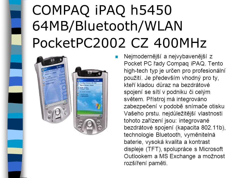 COMPAQ iPAQ h5450 64MB/Bluetooth/WLAN PocketPC2002 CZ 400MHz n Nejmodernější a nejvybavenější z Pocket PC řady Compaq iPAQ.