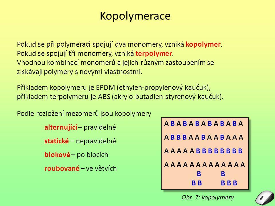 Kopolymerace Pokud se při polymeraci spojují dva monomery, vzniká kopolymer. Pokud se spojují tři monomery, vzniká terpolymer. Vhodnou kombinací monom