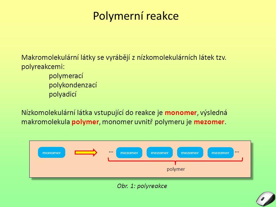 Polymerní reakce Makromolekulární látky se vyrábějí z nízkomolekulárních látek tzv. polyreakcemi: polymerací polykondenzací polyadicí Nízkomolekulární