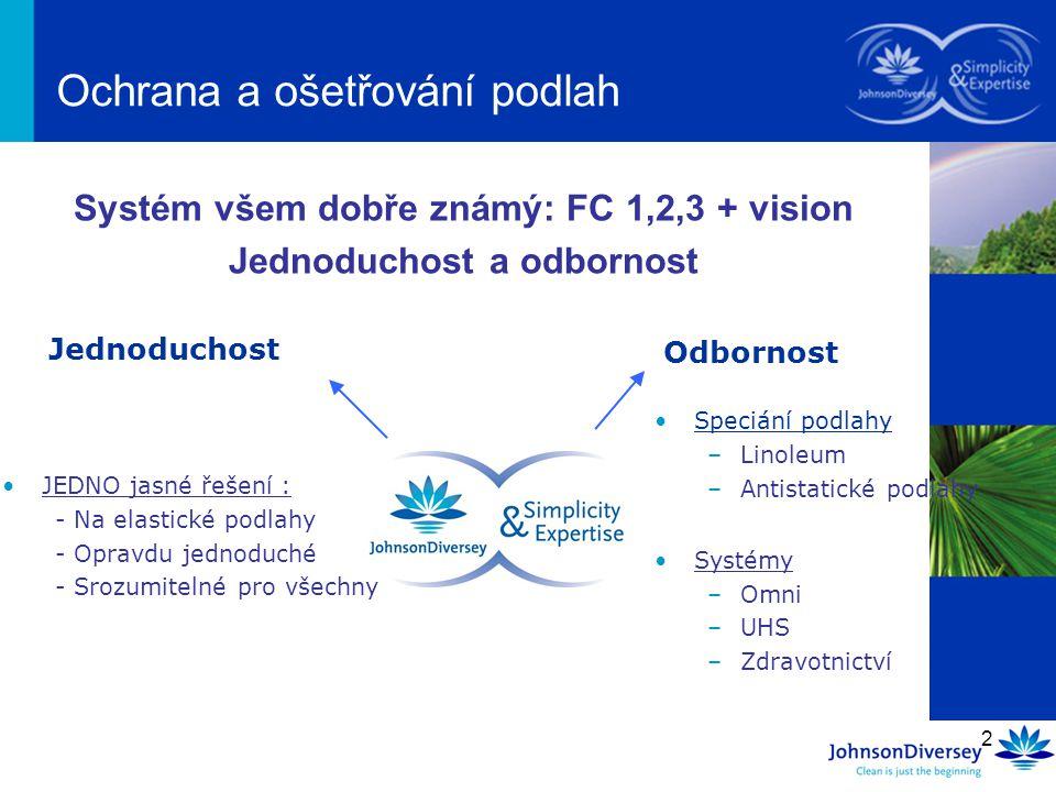 2 Systém všem dobře známý: FC 1,2,3 + vision Jednoduchost a odbornost Ochrana a ošetřování podlah Jednoduchost Odbornost JEDNO jasné řešení : - Na ela