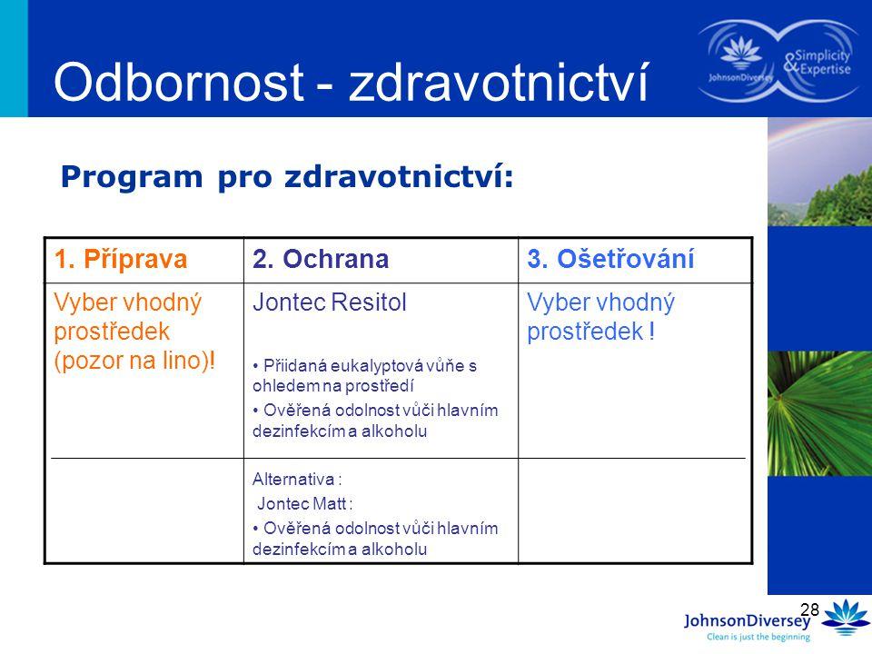28 Program pro zdravotnictví: Odbornost - zdravotnictví 1. Příprava2. Ochrana3. Ošetřování Vyber vhodný prostředek (pozor na lino)! Jontec Resitol Při